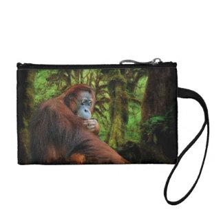 Gefährdetes Orang-Utan u. Regenwald-Primat-Bild Kleingeldbörse