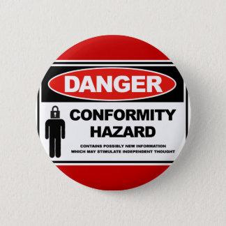 Gefahrenübereinstimmungs-Gefahr Runder Button 5,1 Cm
