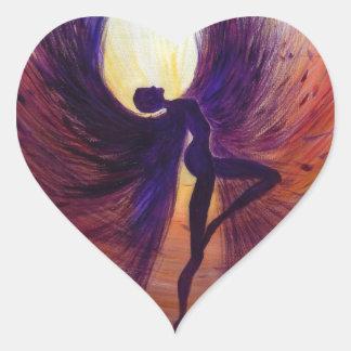 Gefallener Engel - zeitgenössische Malerei Herz-Aufkleber
