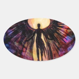 Gefallener Engel - zeitgenössische Malerei Ovaler Aufkleber