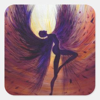 Gefallener Engel - zeitgenössische Malerei Quadratischer Aufkleber