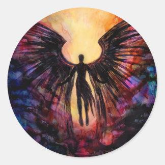 Gefallener Engel - zeitgenössische Malerei Runder Aufkleber