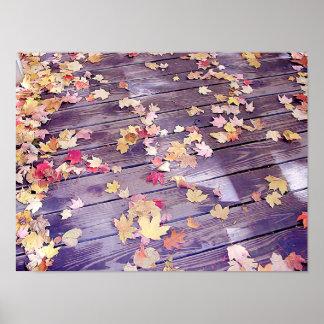 Gefallenes Blätter auf Plattform Poster