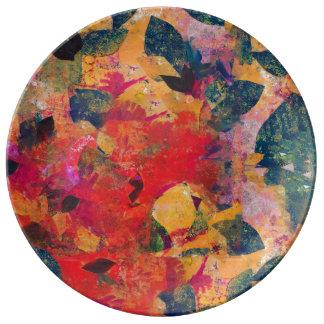 Gefallenes Blätter - dekoratives Blumenmuster Teller