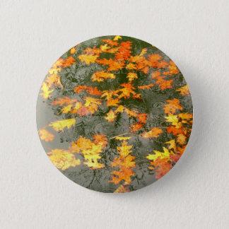 gefallenes Blätter im Regen Runder Button 5,1 Cm