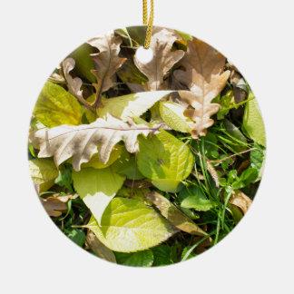 Gefallenes Herbst-Blätter auf Rasen des grünen Keramik Ornament