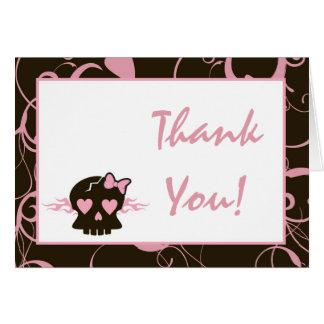 Gefaltet danke, Girly Mädchen-Rosa-Punk-Schädel zu Karte