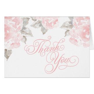 Gefaltet danke kardiert | rosa Watercolor-Rosen Karte