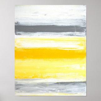 """""""Gefaltete"""" graue und gelbe abstrakte Kunst Poster"""