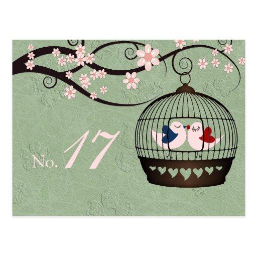 Gefangene der Liebe-Tischnummer-Karte Postkarten