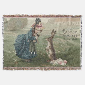 Gefärbter Osterhase Eggs Mädchen-Puppen-Landschaft Decke