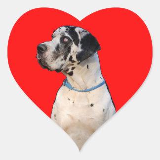Gefleckte Dogge Herz-Aufkleber