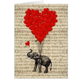 Geformte Ballone des Elefanten und des Herzens Karte