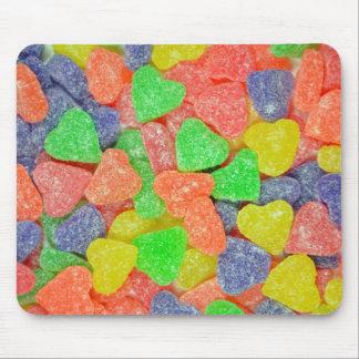 Geformte Süßigkeit des bunten Herzens Mauspads