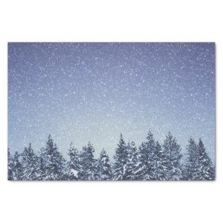Gefrorene Schnee-Winter-Waldszene Seidenpapier