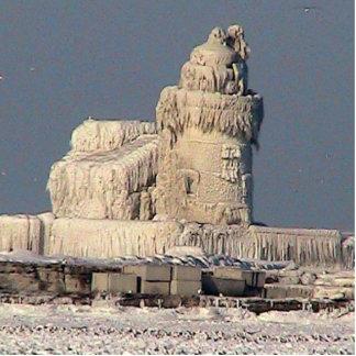 Gefrorener Leuchtturm, Cleveland Freistehende Fotoskulptur