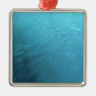 Gefrorener schicker Winter Wasser-Eis-Blau-Frosts Quadratisches Silberfarbenes Ornament