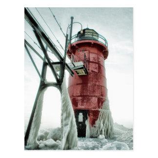 Gefrorener Südhafen-Leuchtturm Postkarten