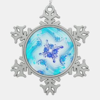 Gefrorenes Fraktal mit Blumen Schneeflocken Zinn-Ornament