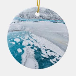 Gefrorenes Gletschereis, Island Rundes Keramik Ornament