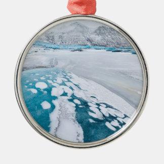 Gefrorenes Gletschereis, Island Rundes Silberfarbenes Ornament