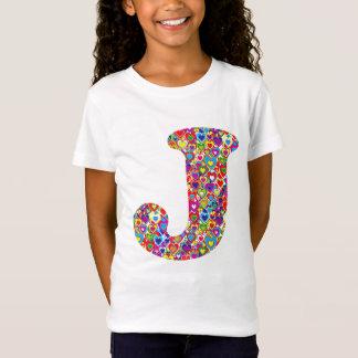 Gefülltes J Monogramm des Spaß-buntes dynamisches T-Shirt