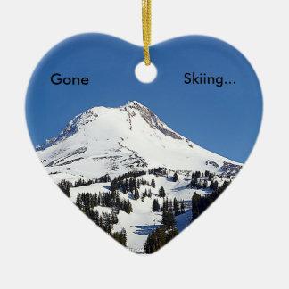 Gegangenes Ski fahren… Keramik Herz-Ornament