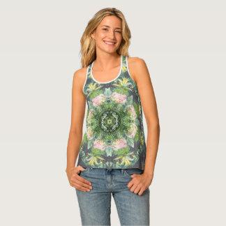 Gegangenes wildes Rosa-und Grün-BlumenTrägershirt Tanktop