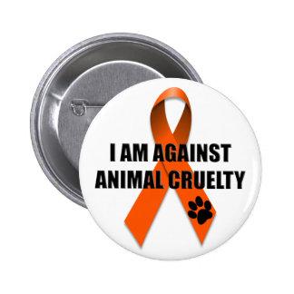 Gegen Tiergrausamkeits-orange Bewusstseins-Band Runder Button 5,1 Cm