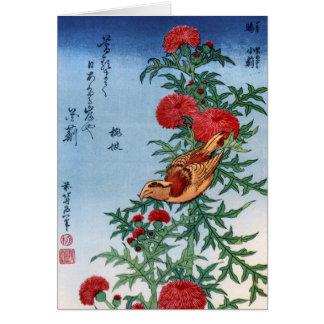 Gegenwechsel auf einer Distel, Hokusai Karte