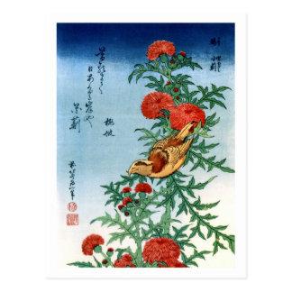 Gegenwechsel u. Distel Hokusai Japaner-schöne Postkarte