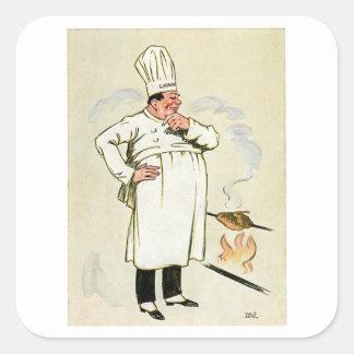 Gegrillte Huhn-Kochs-Vintage Quadrataufkleber