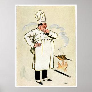 Gegrillte Huhn-Kochs-Vintage Nahrungsmittelanzeige Posterdrucke
