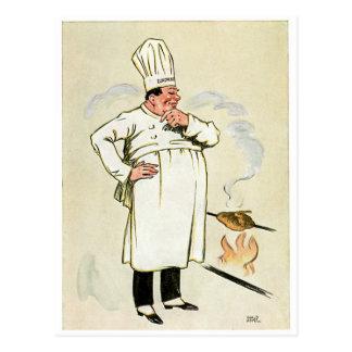 Gegrillte Huhn-Kochs-Vintage Nahrungsmittelanzeige Postkarte