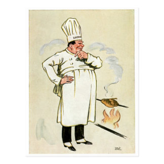 Gegrillte Huhn-Kochs-Vintage Postkarte