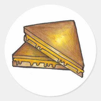 Gegrillte Käse-Sandwich-Aufkleber Runder Aufkleber