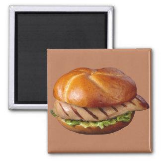 Gegrilltes Hühnerbrust-Sandwich Quadratischer Magnet