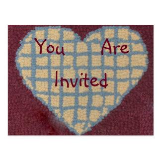 Gehakte Wolldecke-Herz-Einladung Postkarte