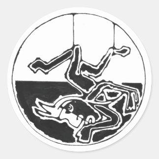 Gehangenes Mannschwarzes - fantastischer Runder Aufkleber