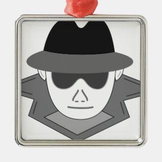 Geheimer Spion Silbernes Ornament