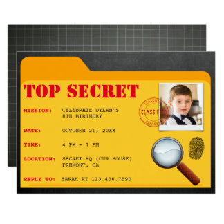 Geheimes Agent-Detektiv-Spions-Geburtstags-Party Karte