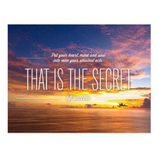 Geheimnis des Erfolgs - motivierend Zitat Postkarte
