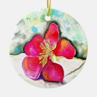 Geheimnis-rosa BlumeWatercolor Keramik Ornament