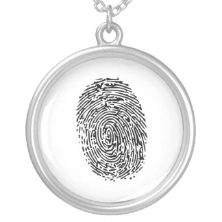 Geheimnis-schwarzer Fingerabdruck Halskette Mit Rundem Anhänger