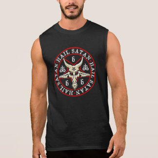 Geheimnisvoller Hagel Satan Baphomet im Pentagram Ärmelloses Shirt