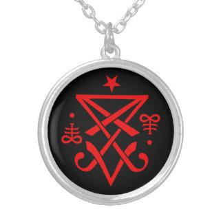 Geheimnisvolles Sigil von Lucifer satanisch Halskette Mit Rundem Anhänger