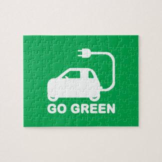Gehen ~ Antriebs-elektrische Autos grüner Puzzle