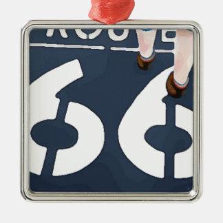 Gehen auf Weg 66 Silbernes Ornament