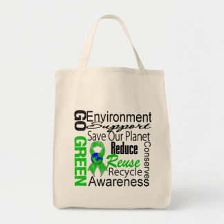 Gehen Collage grüne Einkaufstasche