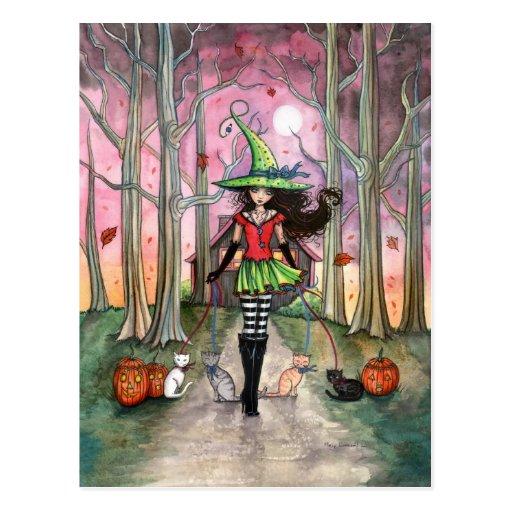 Gehen die Katzen-Halloween-Hexe-Postkarte
